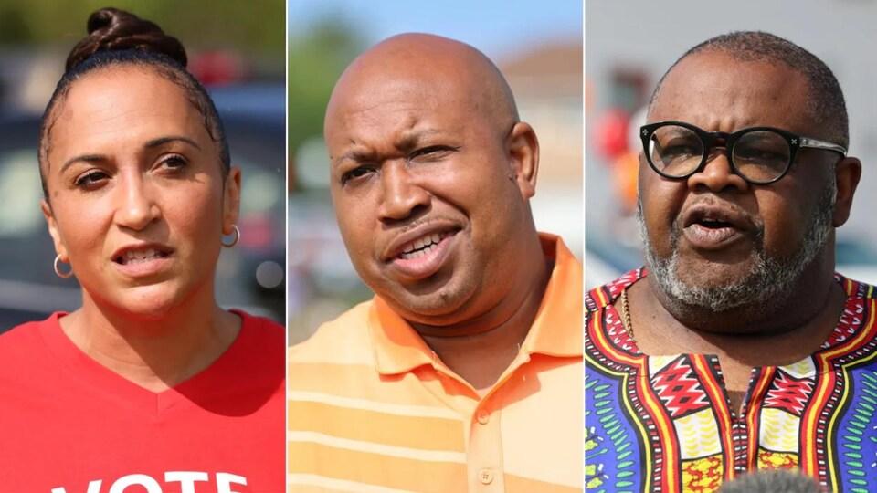 Trois candidats vus côte-à-côte dans un montage photo.