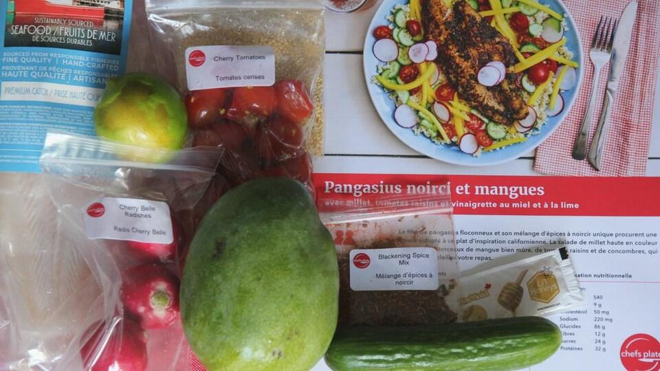 Les ingrédients réunis pour la recette de pangasius noirci et mangues de Chefs Plate