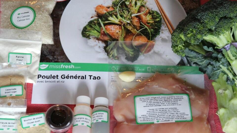 Les ingrédients réunis pour la recette de poulet Général Tao de Miss Fresh