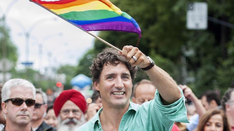 Justin Trudeau lors du défilé de la fierté gaie de Montréal le 14 août 2016.