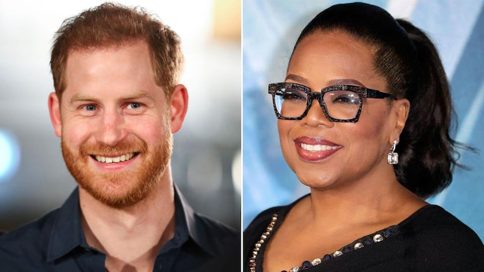 Montage photo où le prince Harry et Oprah Winfrey sourient.