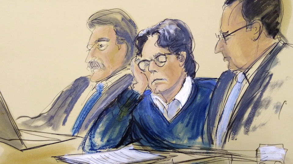 Croquis illustrant un homme les yeux fermés assis et entouré par deux hommes.