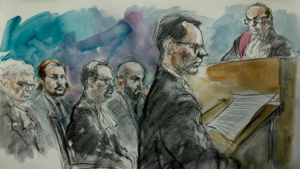 On voit une illustration judiciaire qui dépeint le Procureur Peter Scrutton en train d'interroger des témoins à la barre.