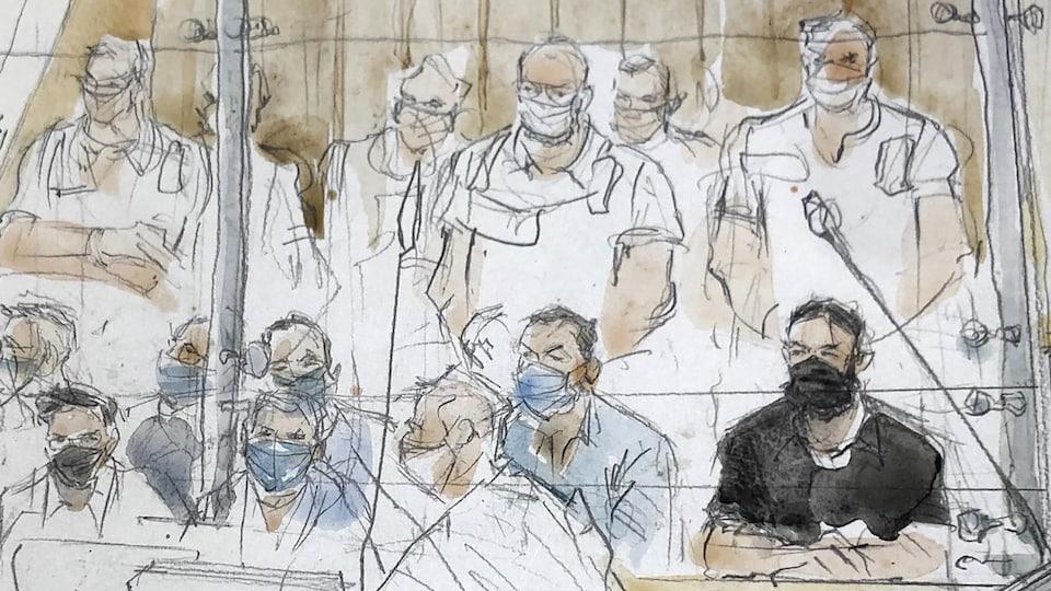 Salah Abdeslam dessiné dans la salle d'audience lors du procès des attentats du 13 novembre.