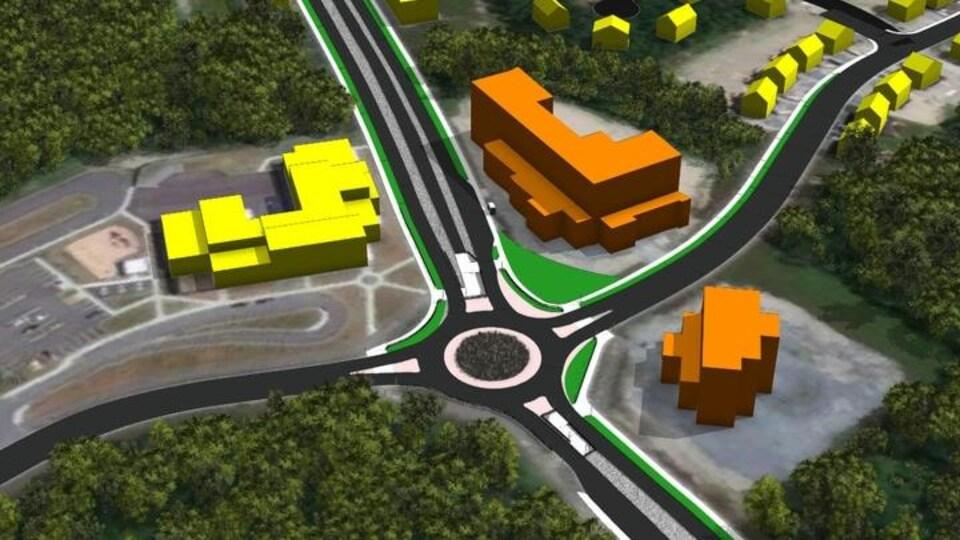 Croquis d'un projet immobilier aux abords du carrefour giratoire de la rue Matisse.