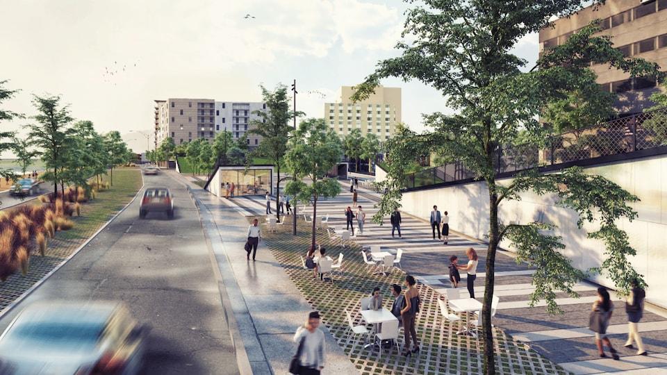 Grand trottoir et végétation aménagés près du boulevard Saint-Germain dans le secteur de la Grande Place