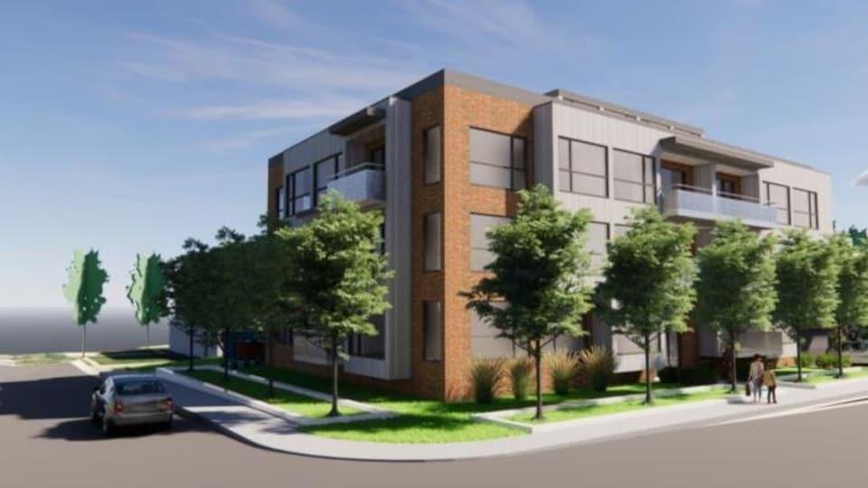 Représentation de l'immeuble à 3 étages vu à partir du coin du chemin Saint-Louis et de la côte de Sillery.