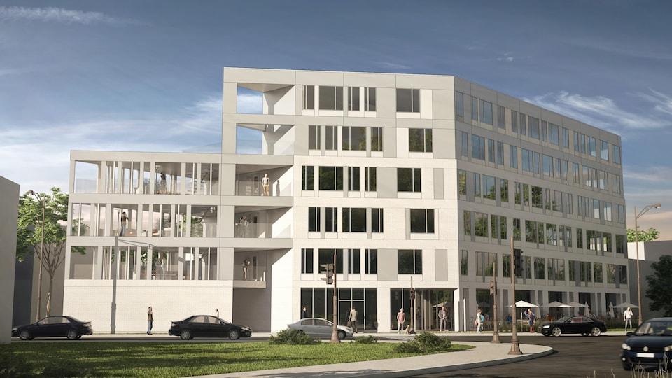 Maquette de l'immeuble à six étages, très fenestré et à revêtement gris.