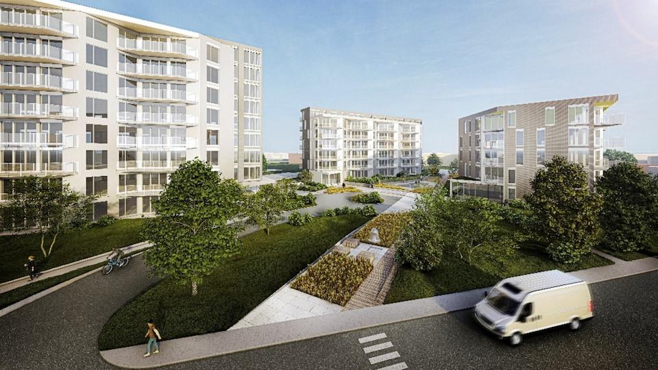 Croquis de trois bâtiments de logements qui seront construits sur le site de l'église Sainte-Agnès à Rimouski.