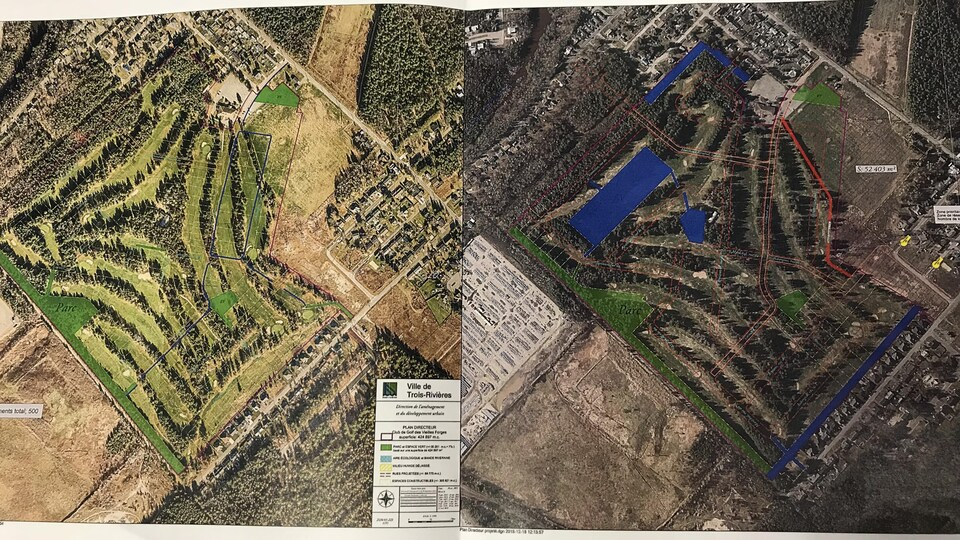 Cartes comparatives des espaces verts prévus dans le projet immobilier sur l'actuel Club de golf les vieilles forges