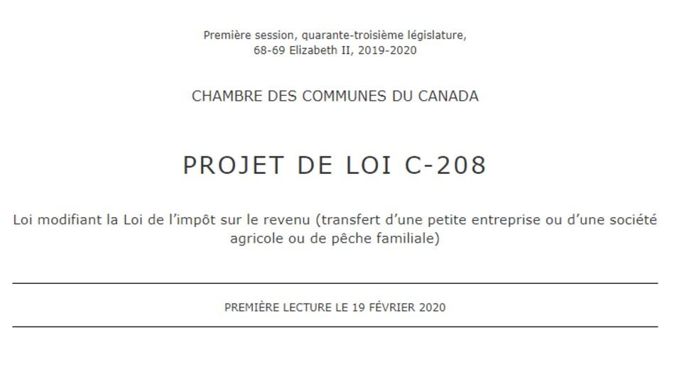Le projet de loi C-208.
