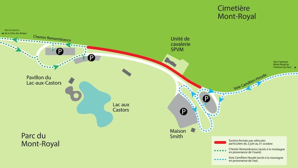 Une carte du sommet du mont Royal indiquant les interdictions en vigueur pendant le projet pilote.