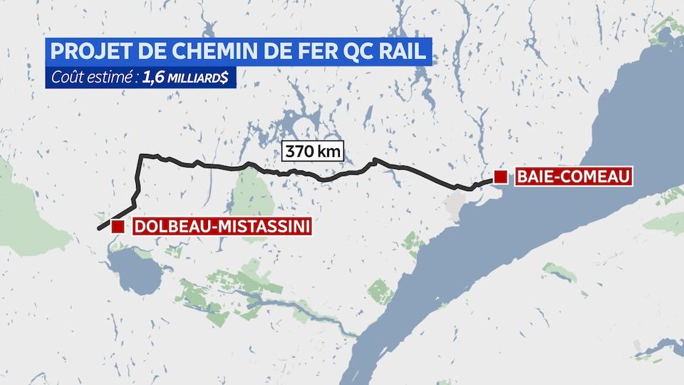 Une carte montre le trajet projeté pour le chemin de fer Québec Rail