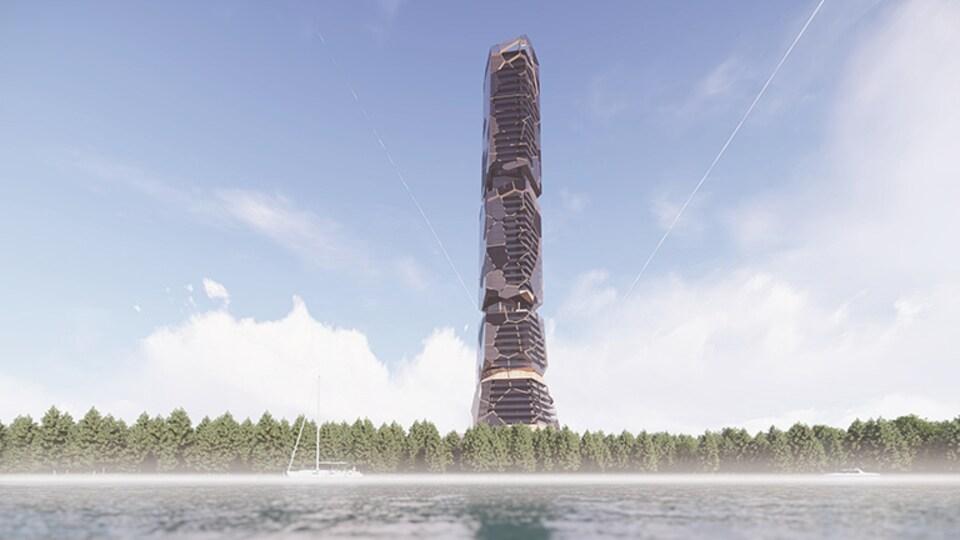 Image de ce à quoi pourrait ressembler l'immense tour parmi les arbres.