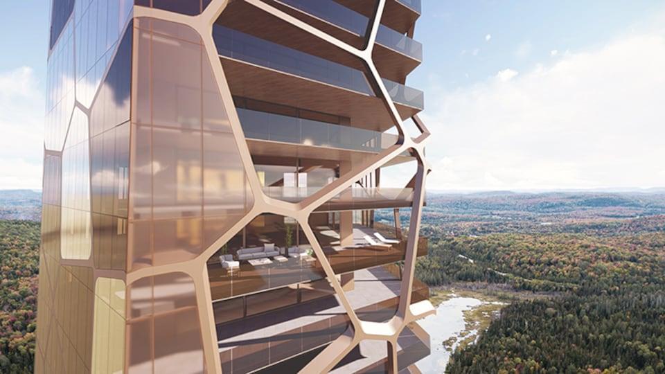 Image générée par la firme d'architecture où on voit un plan rapproché de l'édifice, des divans dans un appartement et un secteur boisé à l'horizon.