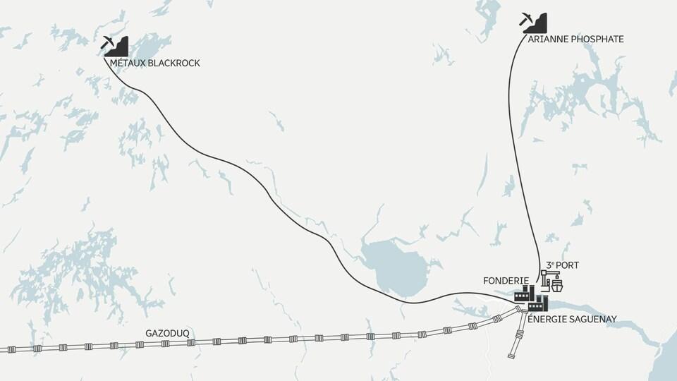 Une carte du Saguenay-Lac-Saint-Jean montre les emplacements des installations projetées par GNL Québec, Métaux BlackRock et Arianne Phosphate.
