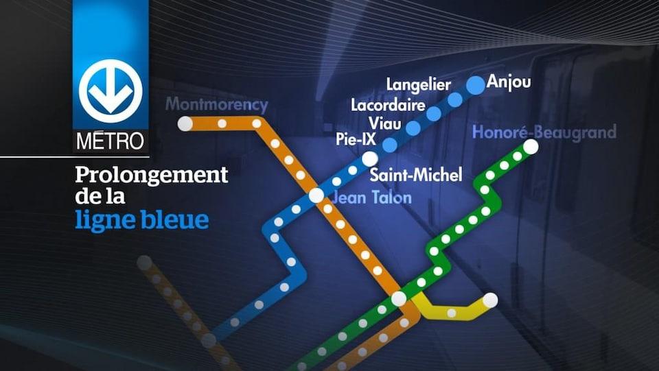 Plan de la ligne bleue incluant les stations projetées Pie-IX, Viau, Lacordaire, Langelier et Anjou.