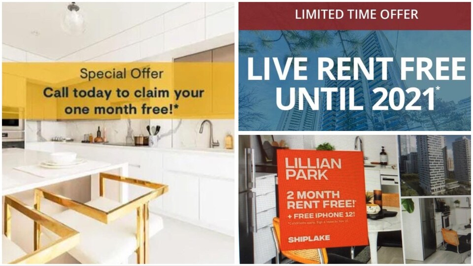 Un collage de trois images qui montrent des offres promotionnelles : 1 mois de loyer gratuit, 2 mois gratuits et un iPhone 12, etc.