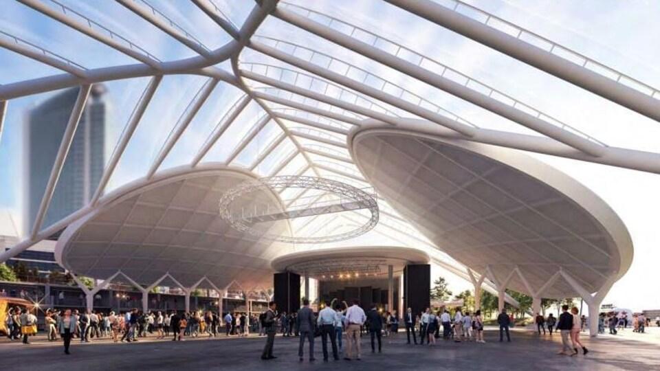Le toit proposé au-dessus de la Place de Festivals est présenté dans une illustration.