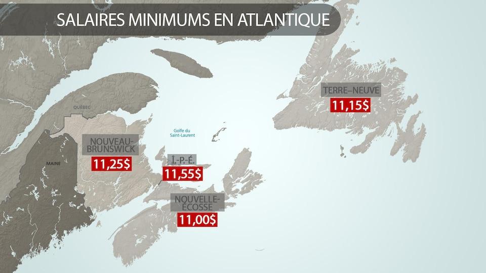 Carte des provinces de l'Atlantique avec le salaire minimum pour chacune d'entre elles.