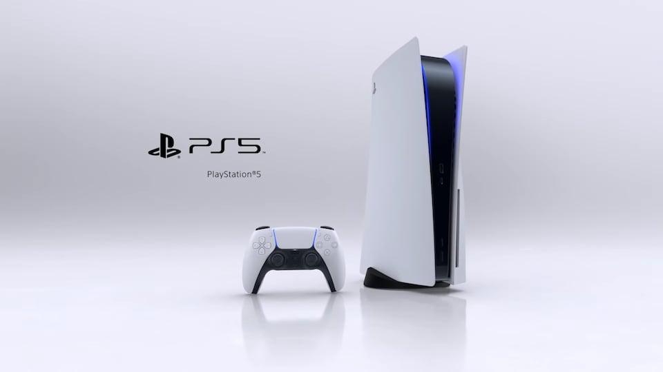 La console, une manette et le logo de la PlayStation 5.