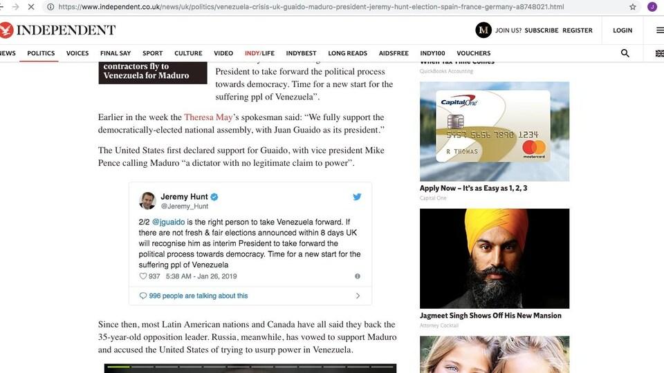 Le NPD a envoyé des captures d'écran à CBC News qui montrent que les publicités ont notamment été diffusées sur le site de The Indepenent.