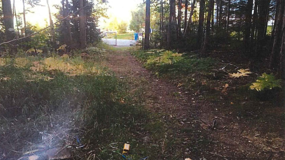 Le puits P.O.T. numéro 2 est situé en bordure d'un petit sentier, tout près d'un secteur résidentiel de Gaspé. On y a détecté du gaz et de la contamination aux hydrocarbures.