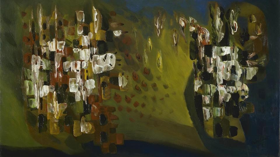 Tableau d'art abstrait peint en vert, brun et blanc.