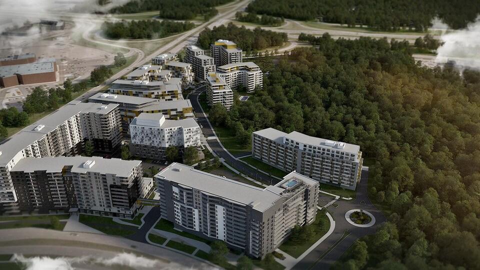 Maquette d'une vue aérienne du complexe d'habitation.