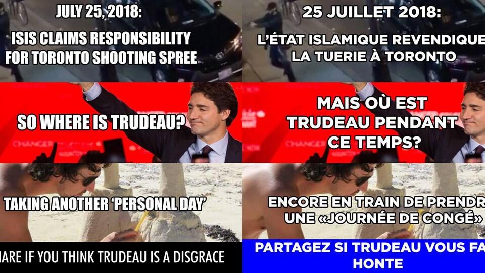 """Les deux images sont un montage de deux photos de Justin Trudeau, ainsi qu'une photo de la tuerie de Toronto du 22 juillet. Dans la version française, il est écrit: «25 juillet 2018: l'État islamique revendique la tuerie à Toronto. Mais où est Trudeau pendant ce temps? Encore en train de prendre une """"journée de congé"""". Partagez si Trudeau vous fait honte (sic).»"""