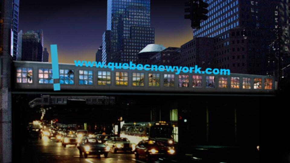 Bannière Québec-New York 2001 sur la passerelle North Bridge, entre l'ancien World Trade Center et World Financial Center, en septembre 2001.