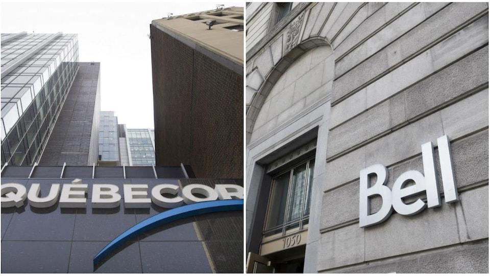 Montage photo du siège social de Québecor à Montréal, à gauche, et des bureaux de Bell à Montréal