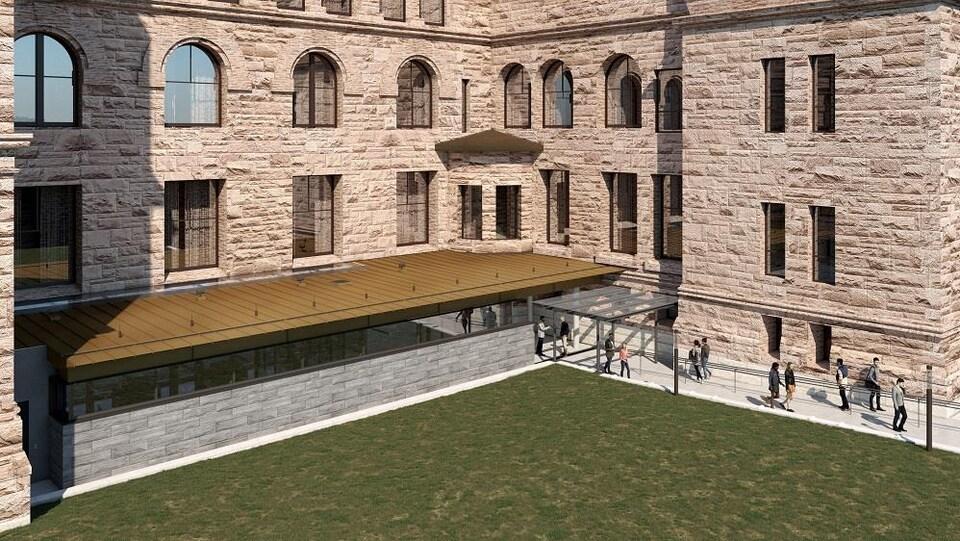 Vue aérienne de la nouvelle entrée.