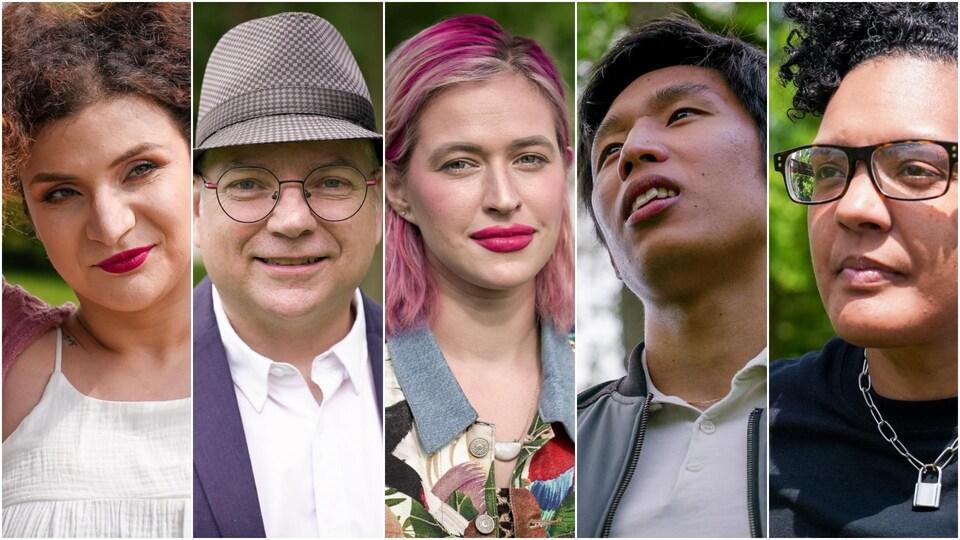 Photomontage de cinq portraits avec de gauche à droite : Ziva Gorani, Gilles Marchildon, Sam Howden, Mathieu Young et Dani Bundy.