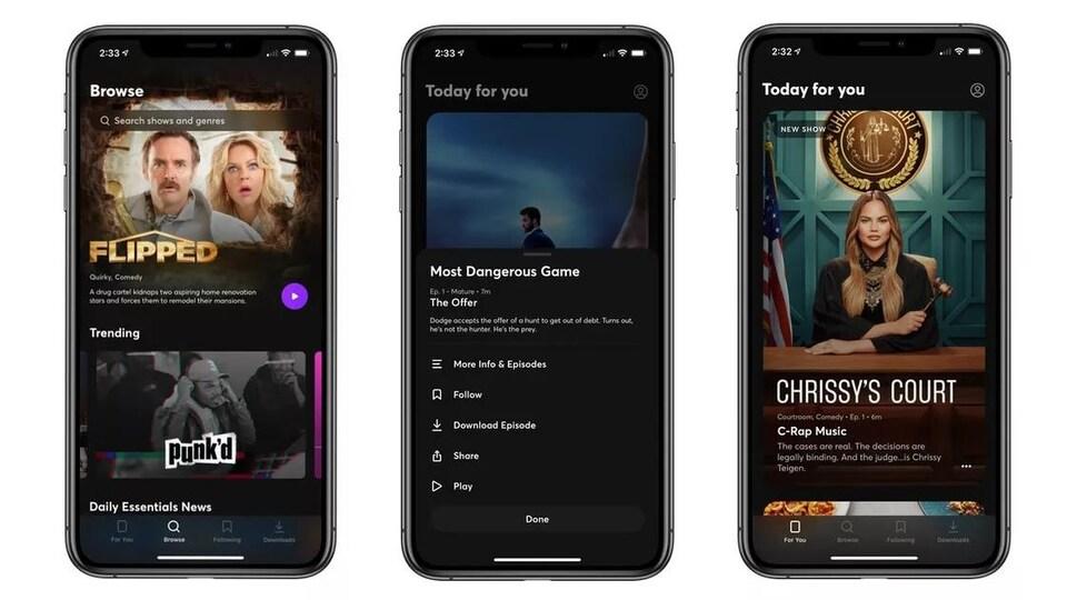 Captures d'écran de l'interface de l'application mobile Quibi.