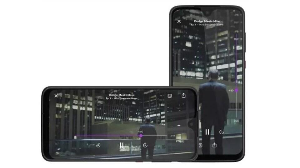 Démonstration de l'image qui s'adapte au format horizontal et vertical d'un téléphone dans l'application Quibi.