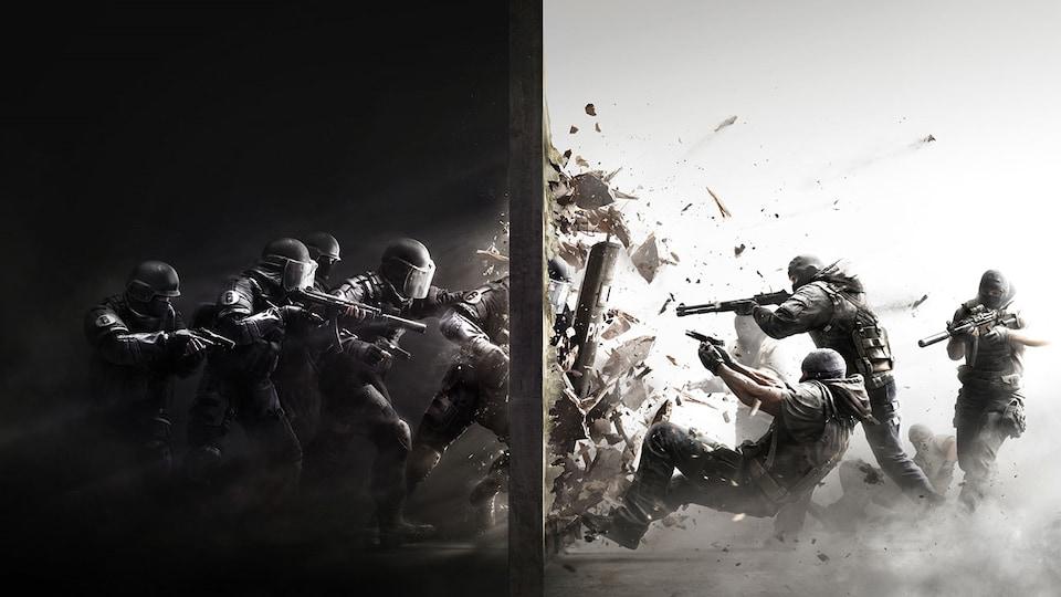 Une image montrant des policiers en train de défoncer un mur. De l'autre côté du mur, des personnages masqués pointent leurs armes vers les policiers.