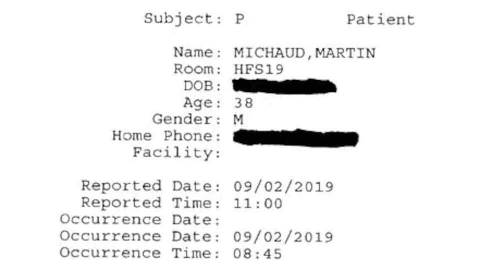 Une courte note de service indiquant uniquement la date des faits, le nom et l'âge du patient ainsi que le numéro de sa chambre.