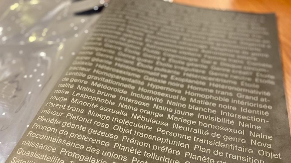 Une photographie d'une page où on voit plusieurs mots-clés écrits les uns à la suite des autres.