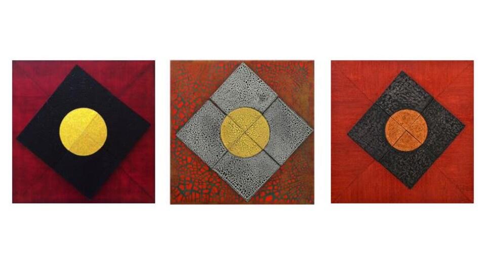 Trois exemple des œuvres de la série Re-create de Majie Lavergne.