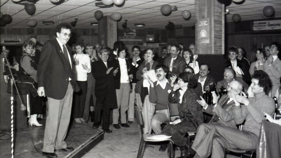 Célébrations du camp du oui à Rouyn, en 1986