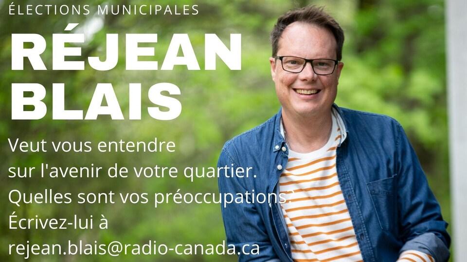 Affiche invitant les lecteurs à écrire à Réjean Blais.