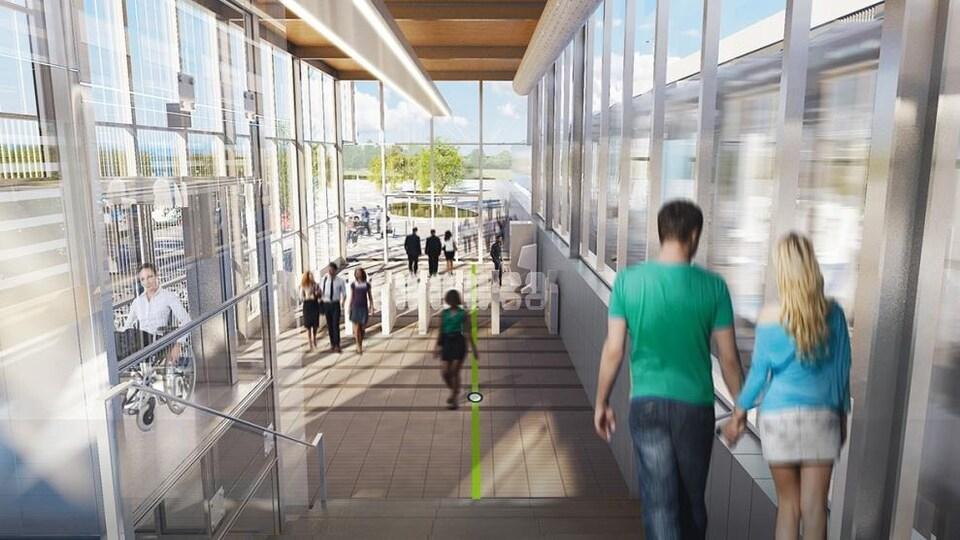 Maquette d'une des stations du futur REM