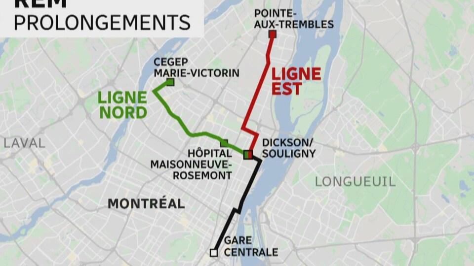 Un plan de Montréal schématisant les nouveaux tracés du REM.