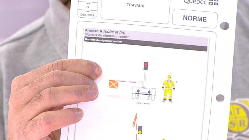 Schémas d'une remorque censée protéger les signaleurs routiers.