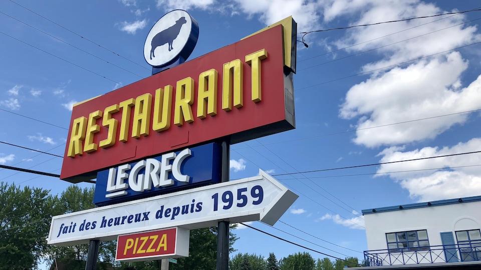 Enseigne du restaurant Le Grec situé dans le secteur Pointe-du-Lac, à Trois-Rivières.