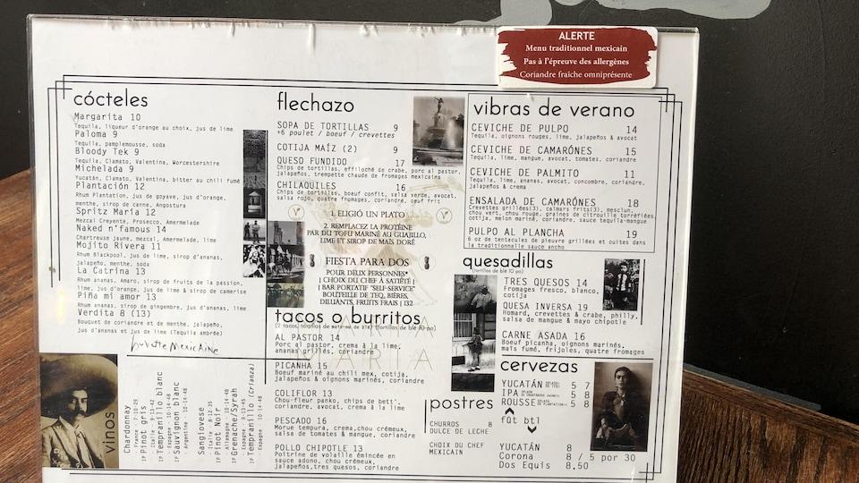 Un menu à saveur mexicaine.
