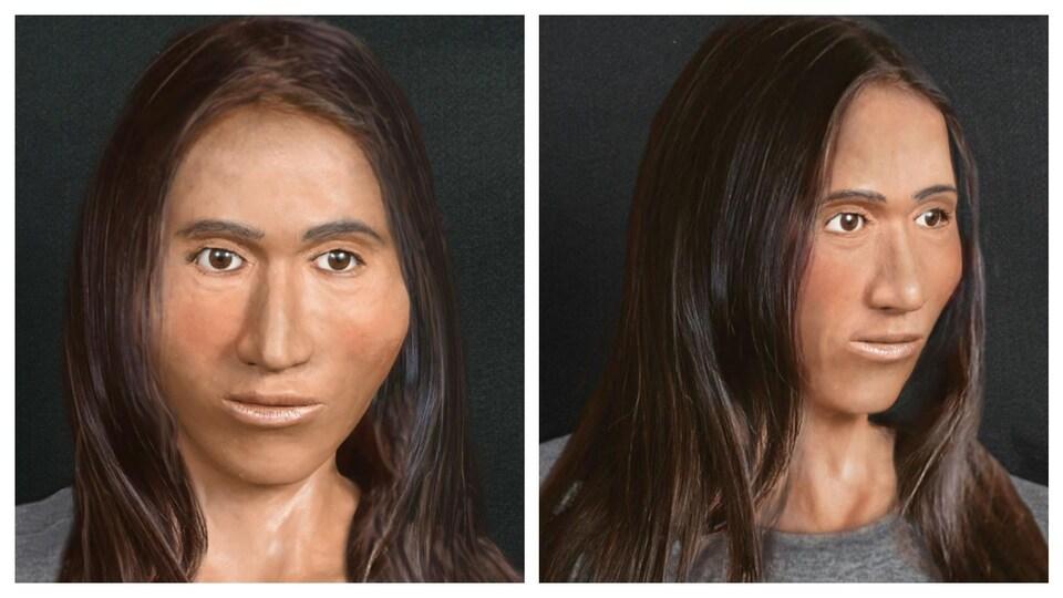Reconstitution en argile de la tête d'une femme brune.