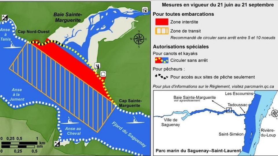 Carte de la zone d'exclusion des embarcations dans la baie Sainte-Marguerite, à Saguenay