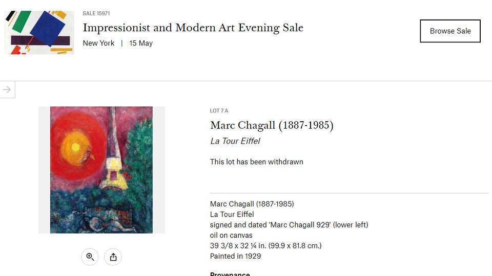 Sur la page du site de la maison d'enchères, on voit le tableau et des détails en anglais.